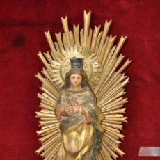 Arte: MARAVILLOSA VIRGEN EN PAPEL MACHE Y MADERA POLICROMADA DEL SIGLO XVIII-XIX. Lote 43157687
