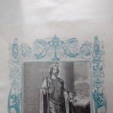 Arte: GRABADO RELIGIOSO ANTIGUO BICOLOR (AZUL Y NEGRO). Lote 43248977