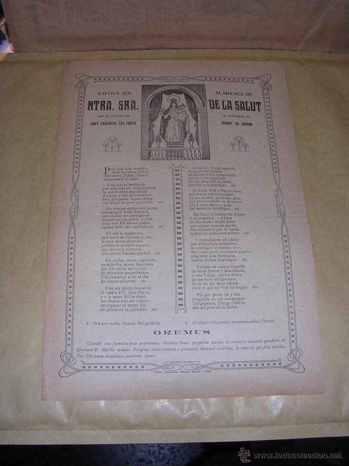 SANT CRISTÓFOL LES FONTS 1922GOIGS EN ALABANÇA DE NTRA. SRA. DE LA SALUT (Arte - Arte Religioso - Grabados)