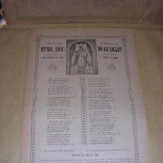 Arte: SANT CRISTÓFOL LES FONTS 1922GOIGS EN ALABANÇA DE NTRA. SRA. DE LA SALUT . Lote 43342660