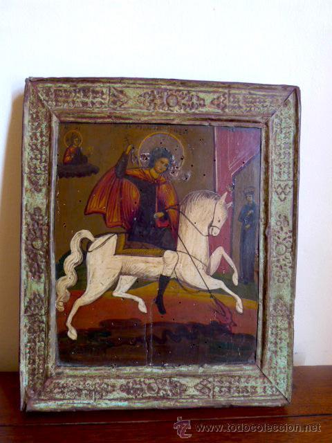ICONO RUSO SAN JORGE , ÉPOCA FINALES 18 O PRINCIPIOS 19? OLEO SOBRE TABLA NOGAL (Arte - Arte Religioso - Iconos)