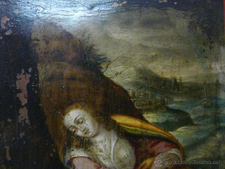 Arte: ÓLEO SOBRE COBRE Mª MAGDALENA EN EL SEPULCRO SIGLO XVI - 1000-024 - Foto 3 - 43107522