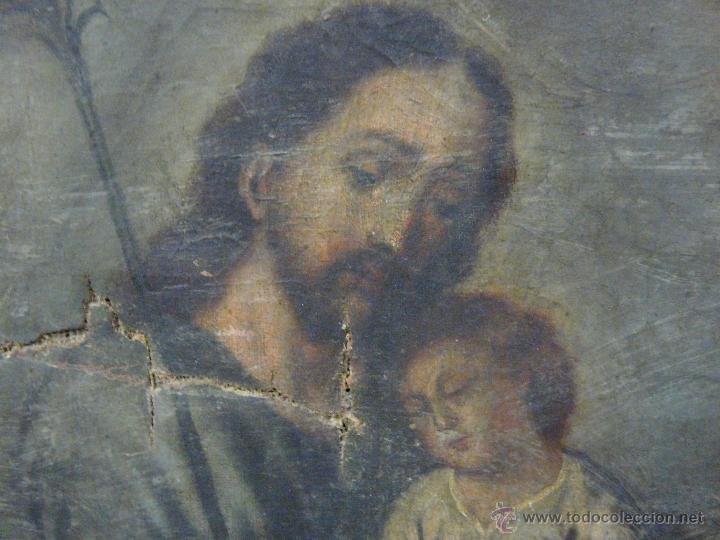 Arte: ÓLEO SOBRE LIENZO SAN JOSÉ CON NIÑO SIGLO XVIII - 1000-066 - Foto 4 - 43145250