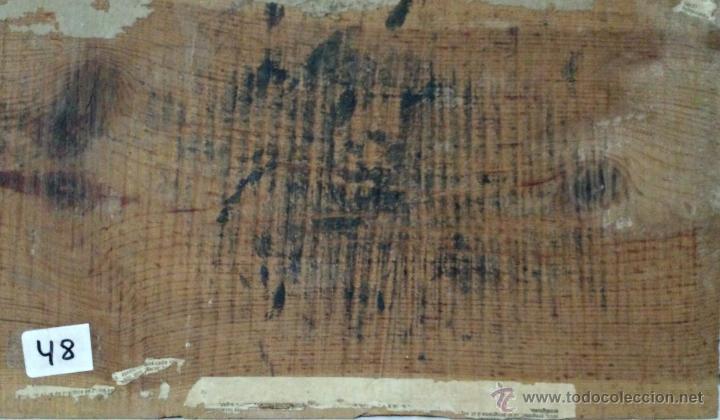 Arte: ÓLEO SOBRE PAPEL ADHERIDO A TABLA WSSEL ALEGORÍA A LA VIRGEN SIGLO XIX- XX - 1000-014 - Foto 6 - 43425175