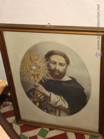 ANTIGUO GRABADO RELIGIOSO SANTO, EN ANTIGUO MARCO DE MADERA DORADO Y CRISTAL, 50,5 X 40,5CM COLOR (Arte - Arte Religioso - Grabados)