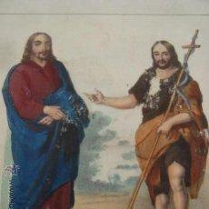 Arte: MAGNIFICO GRABADO COLOREADO O ILUMINADO MANUALMENTE DE JESU CRISTO Y SAN JUAN BAUTISTA. Lote 32740051