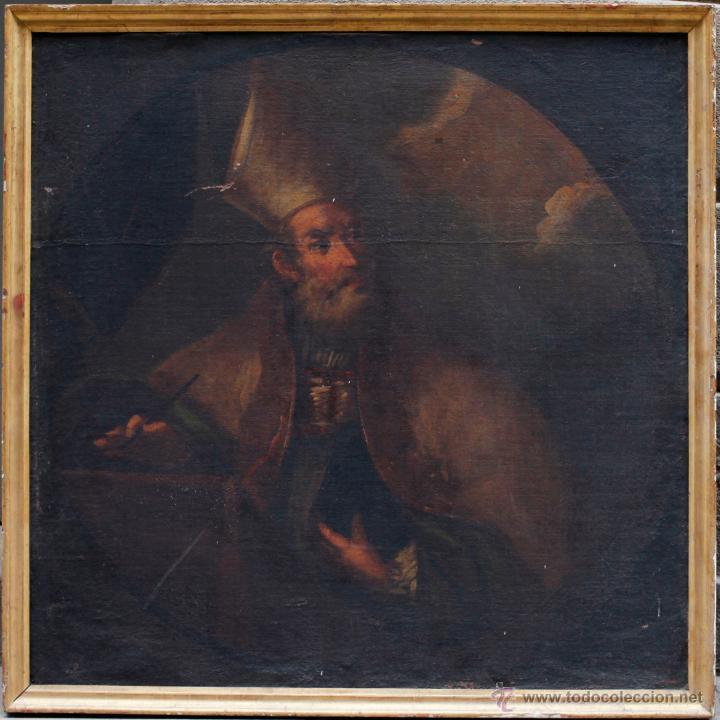 OBISPO, ÓLEO SOBRE TELA SIGLO XVIII. TAMAÑO MARCO: 105X105 CM. TELA: 99X99CM. VER FOTOS (Arte - Arte Religioso - Pintura Religiosa - Oleo)