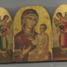 Arte: PEQUEÑO TRIPTICO RELIGIOSO SOBRE MADERA PARA MESA VER FOTOS. Lote 43755123