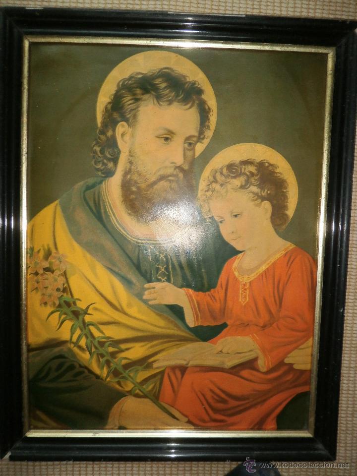 CROMOLITOGRAFÍA. SAN JOSÉ Y EL NIÑO JESÚS. SIGLO XIX. (Arte - Arte Religioso - Litografías)