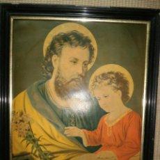 Arte: CROMOLITOGRAFÍA. SAN JOSÉ Y EL NIÑO JESÚS. SIGLO XIX.. Lote 43881822