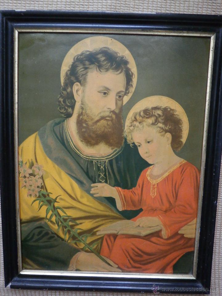 Arte: CROMOLITOGRAFÍA. SAN JOSÉ Y EL NIÑO JESÚS. SIGLO XIX. - Foto 2 - 43881822