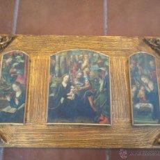 Arte: TRIPTICO RELIGIOSO SOBRE BASE DECORADA. Lote 43939485