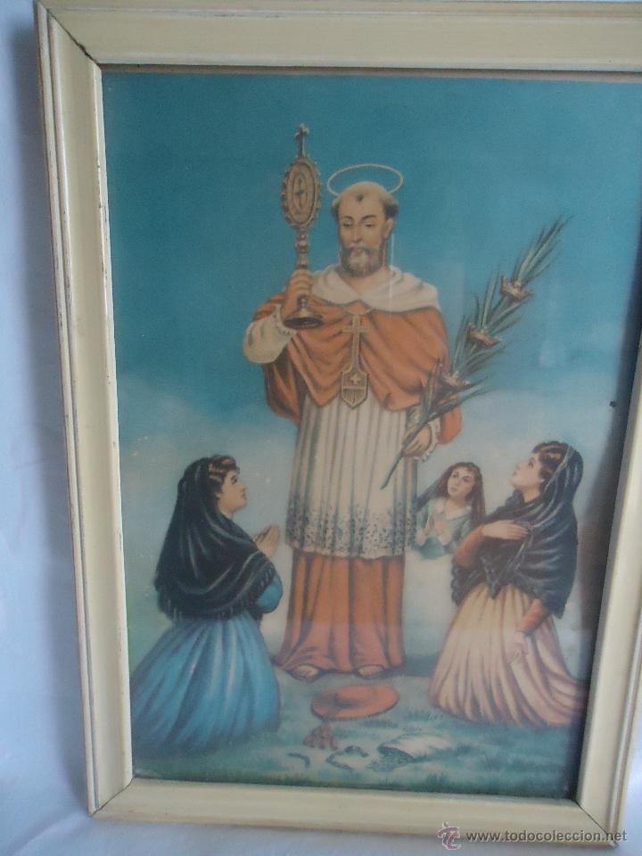 ANTIGUA LAMINA LITOGRAFIA MARCO,CUADRO DE SAN RAMÓN NONATO, SANTO ARAGÓN, PATRÓN EMBARAZADAS, NIÑOS. (Arte - Arte Religioso - Litografías)