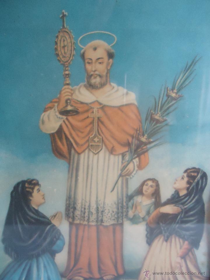 Arte: Antigua lamina litografia marco,cuadro de San Ramón Nonato, santo Aragón, patrón embarazadas, niños. - Foto 2 - 43956626