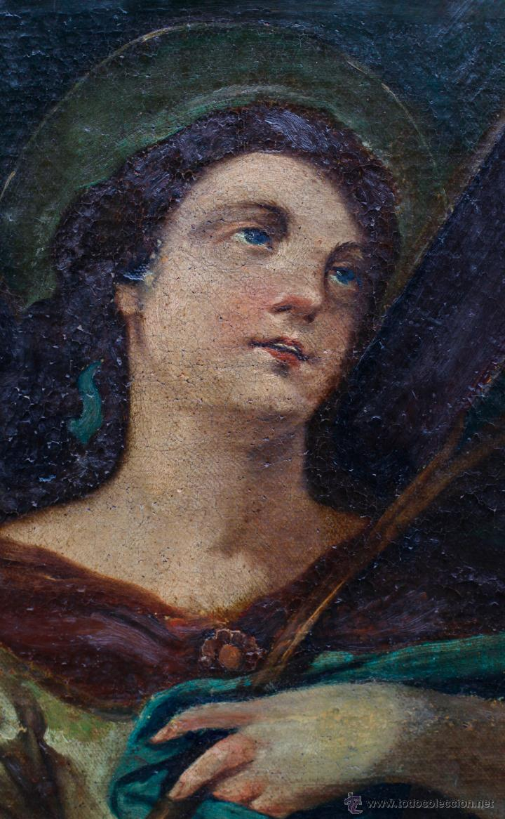 Arte: Santa Eulalia, óleo sobre lienzo antiguo, 55x66cm. marco moderno: 75x86 cm. - Foto 2 - 44066702
