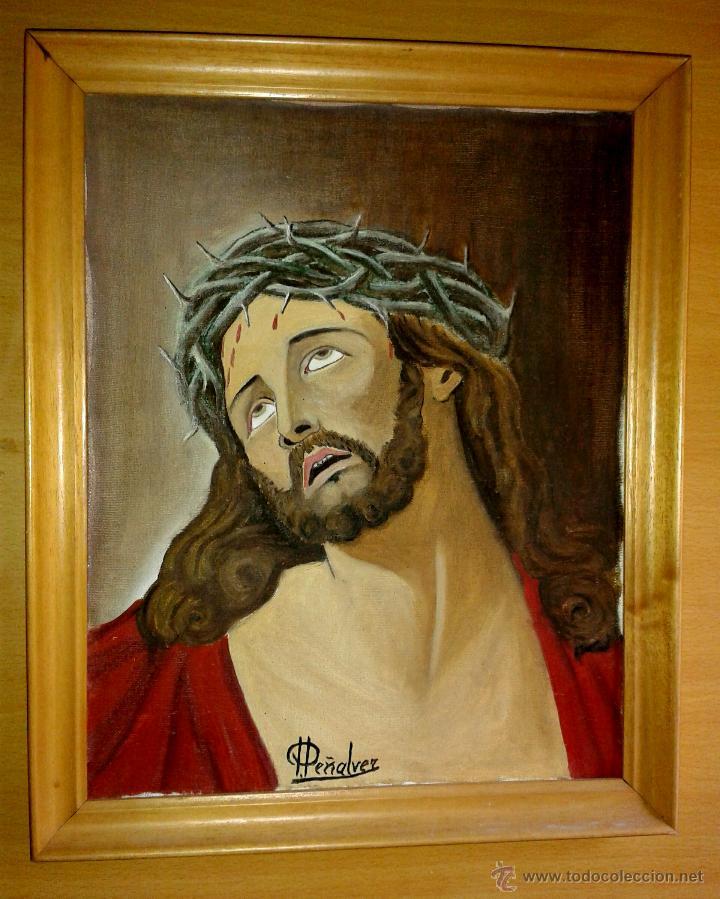 CUADRO DE CRISTO PINTURA OLEO FIRMADO POR PEÑALVER 40 X 50 CMTRS. (Arte - Arte Religioso - Pintura Religiosa - Oleo)