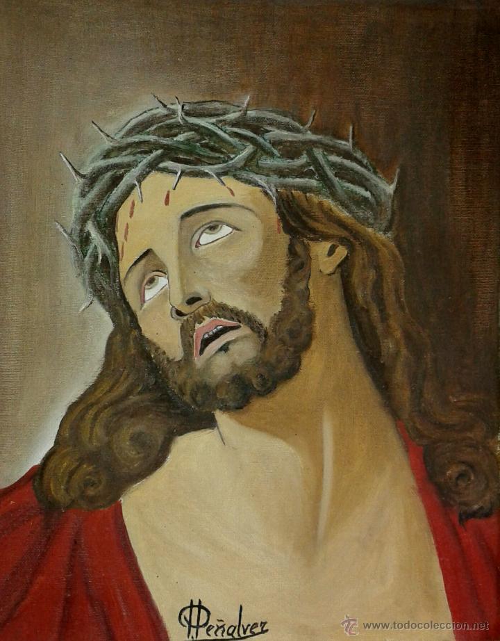 Arte: Cuadro de cristo pintura oleo firmado por Peñalver 40 x 50 cmtrs. - Foto 2 - 44110982