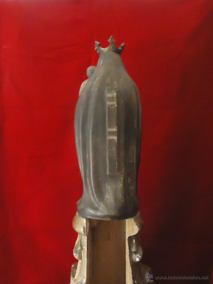 Arte: MAGNIFICA TALLA DE LA VIRGEN DEL PILAR SOBRE CAPITEL MADERA DORADO - Foto 6 - 44220931