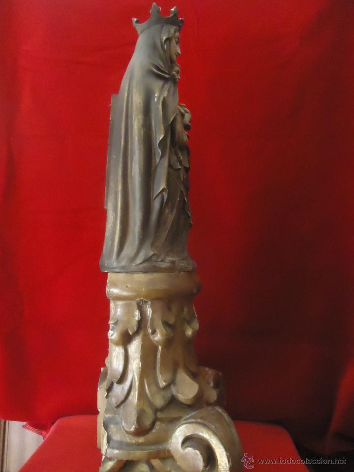 Arte: MAGNIFICA TALLA DE LA VIRGEN DEL PILAR SOBRE CAPITEL MADERA DORADO - Foto 7 - 44220931