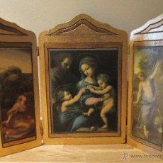 Arte: RETABLO TRIPTICO RELIGIOSO PUERTAS EN PAN DE ORO. Lote 44264557