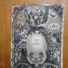 Arte: MAGNIFICO GRABADO DE LAS GLORIAS IHS, PULGATORIO VIRGEN ANGELES , TAMAÑO POSTAL. Lote 44282006
