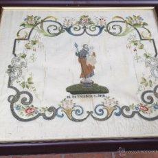 Arte: BORDADO EN SEDA ENMARCADO DE EL PATRIARCA SAN JOSE SIGLO XIX. Lote 44346015