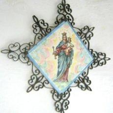 Arte: VIRGEN MARIA AUXILIADORA - BALDOSA AZULEJO ARABESCOS FILIGRANA EN HIERRO. Lote 132112303