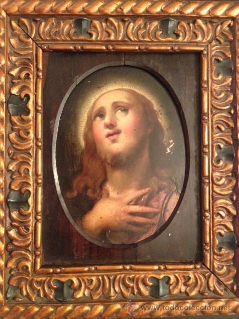 PINTURA ANTIGUA, SAN JUAN BAUTISTA, ECCE HOMMO, OLEO SOBRE COBRE, ENMARCADO SIGLO XVII, XVIII (Arte - Arte Religioso - Pintura Religiosa - Oleo)