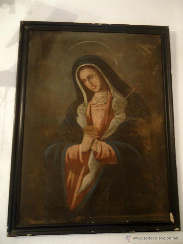 Arte: DULCISIMA VIRGEN DOLOROSA OLEO SOBRE LIENZO S.XVIII - Foto 2 - 44465725