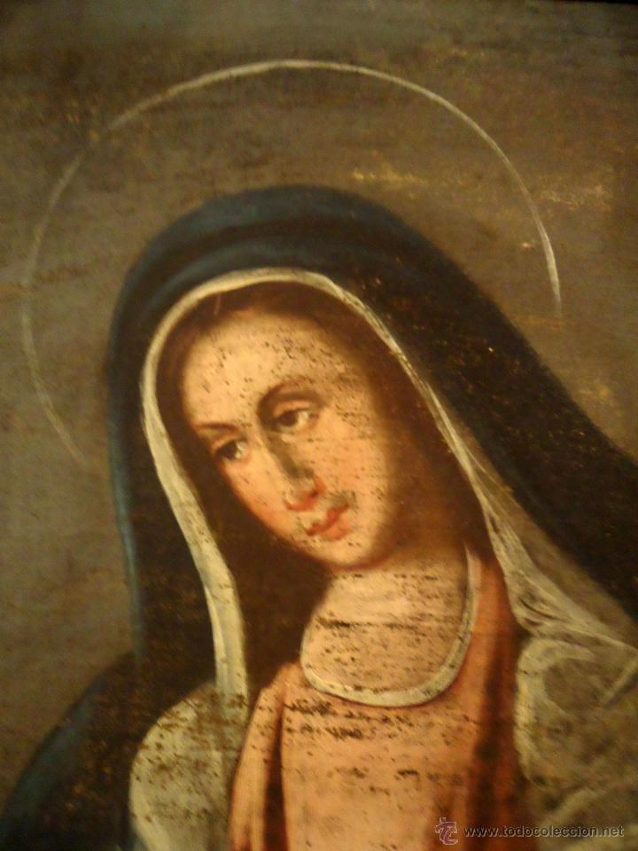 Arte: DULCISIMA VIRGEN DOLOROSA OLEO SOBRE LIENZO S.XVIII - Foto 6 - 44465725