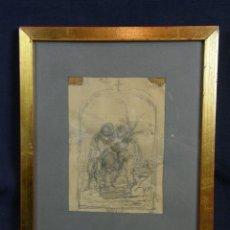 Arte: DIBUJO LÁPIZ RICARDO VILLODAS SELLO TESTAMENTARÍA PINTOR MADRILEÑO MADRID 1846-1904 SORÍA RELIGIOSA. Lote 44500573