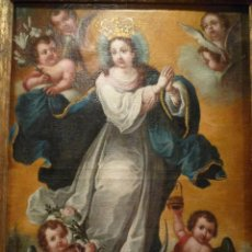 Arte: INMACULADA S. XVIII. OLEO SOBRE LIENZO. ORIGINAL DEL XVIII NO COPIA. ANONIMA. PINTURA FINA, CUSQUEÑA. Lote 44621293
