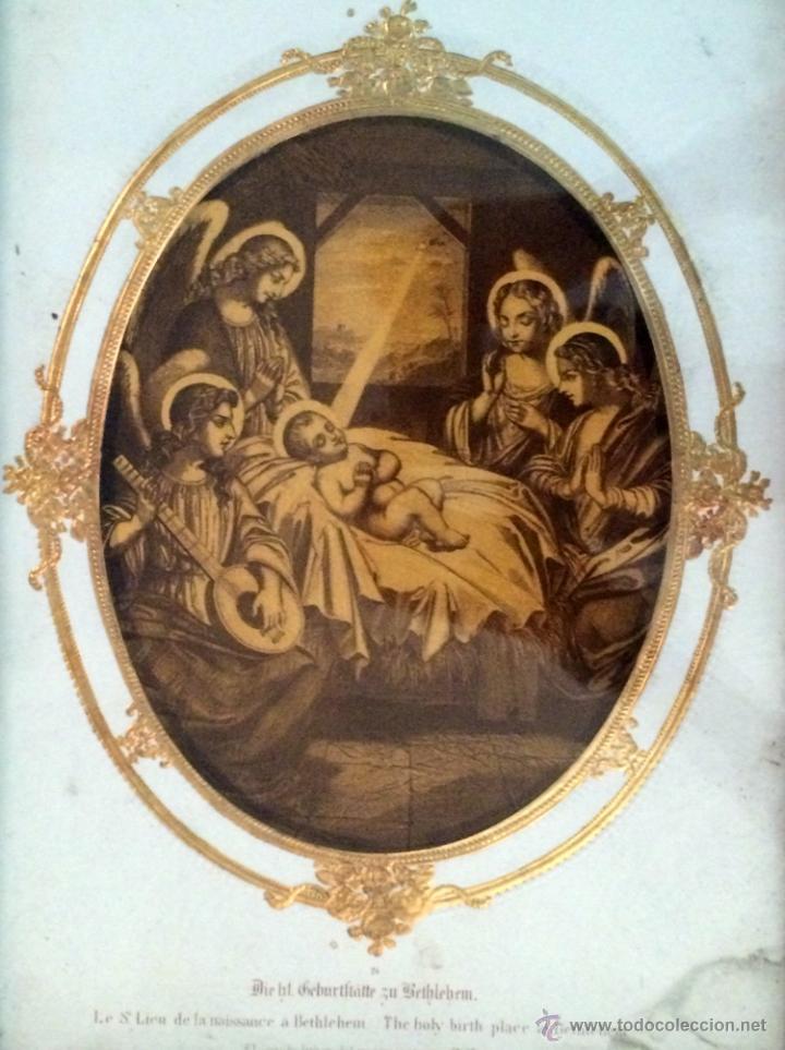 Arte: Maravilloso grabado del nacimiento del niño Jesús, finales del XIX,Angeles - Foto 2 - 44656181
