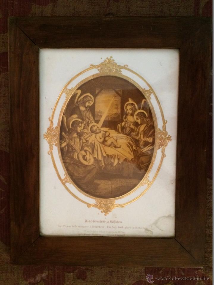 Arte: Maravilloso grabado del nacimiento del niño Jesús, finales del XIX,Angeles - Foto 4 - 44656181