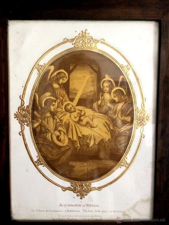 MARAVILLOSO GRABADO DEL NACIMIENTO DEL NIÑO JESÚS, FINALES DEL XIX,ANGELES (Arte - Arte Religioso - Grabados)