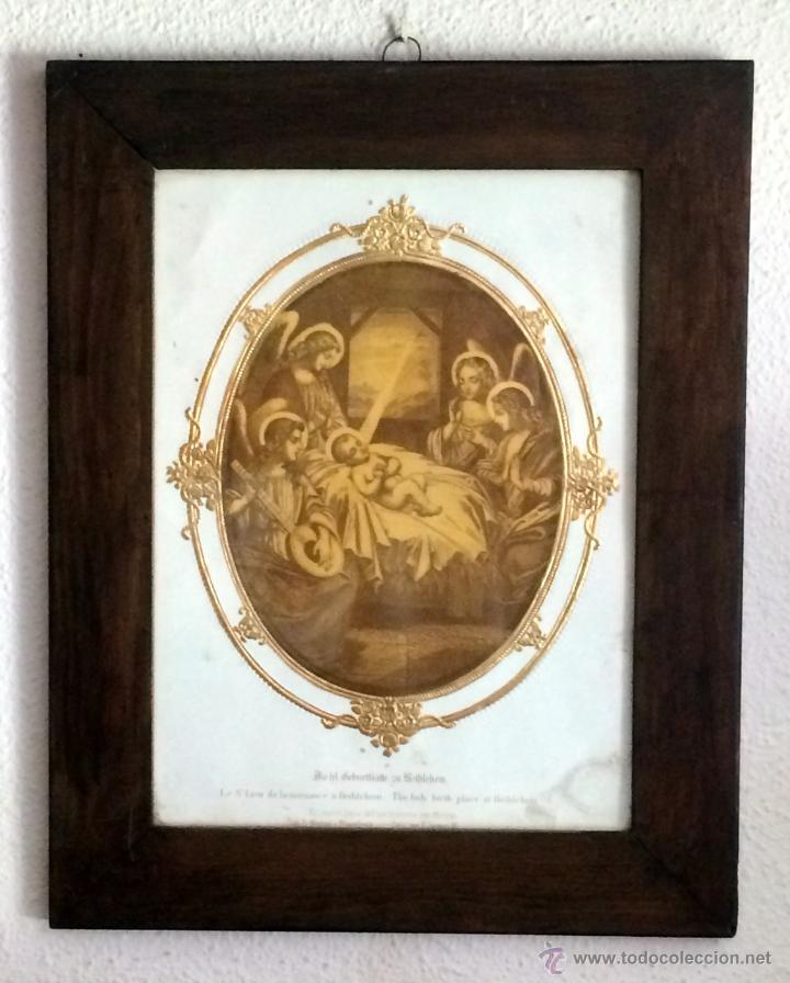 Arte: Maravilloso grabado del nacimiento del niño Jesús, finales del XIX,Angeles - Foto 5 - 44656181