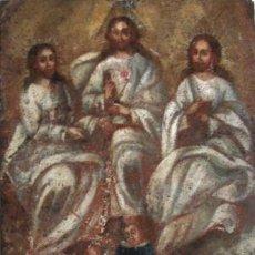 Arte: OLEO COBRE RELIGIOSO ALTA EPOCA XVI-XVII PIEZA COLECCIONISTA SANTISIMA TRINIDAD O DIOS ETERNO. Lote 44894519