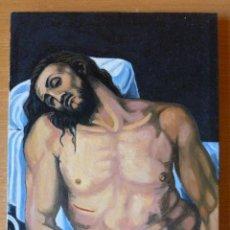 Arte: ÓLEO SOBRE LIENZO - CRISTO YACENTE - 19 X 24 CM. Lote 44990257