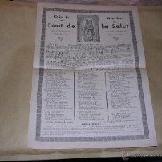 Arte: SANT FELIU DE PALLAROLS 1939 GOIGS DE NTRA SRA DE LA FONT DE LA SALUT VALL D'HOSTOLES - OLOT IMP. . Lote 45097761