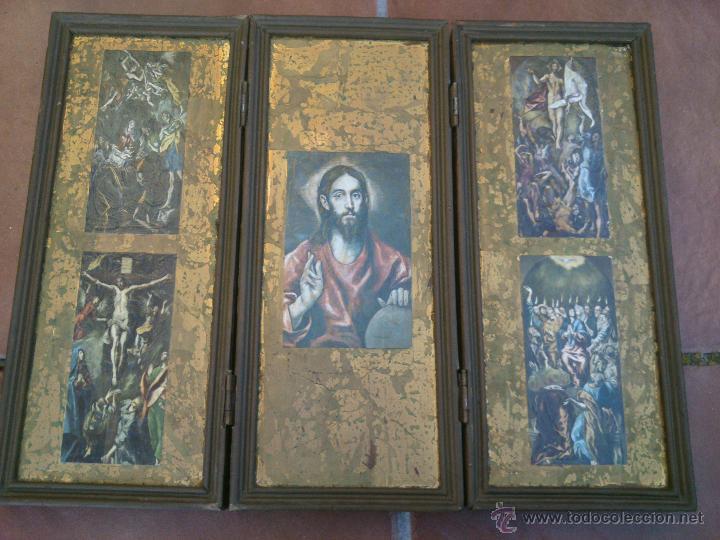 TRIPTICO RELIGIOSO SOBRE BASE DECORADA (Arte - Arte Religioso - Trípticos)