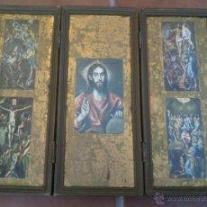 Arte: TRIPTICO RELIGIOSO SOBRE BASE DECORADA. Lote 45127483