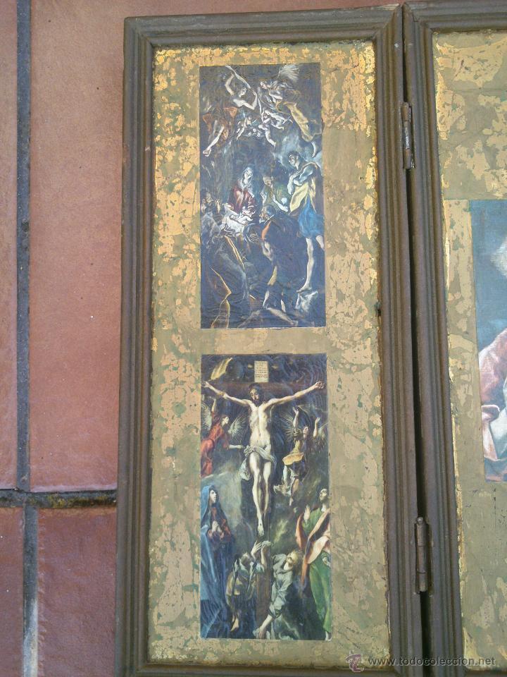 Arte: TRIPTICO RELIGIOSO SOBRE BASE DECORADA - Foto 2 - 45127483
