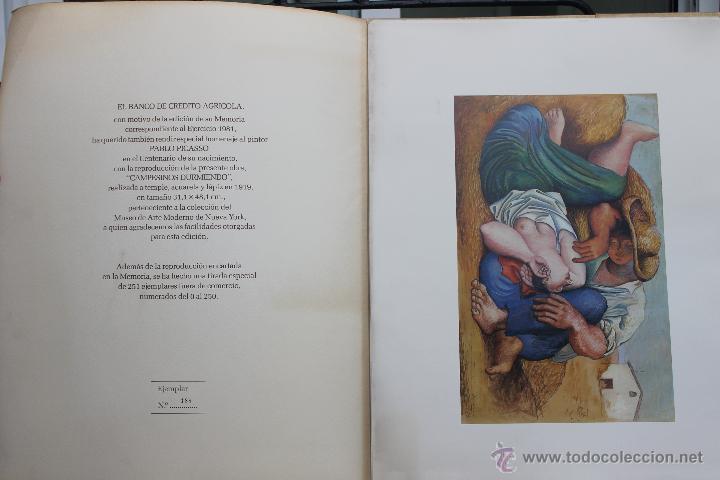 LITOGRAFIA PABLO PICASSO CAMPESINOS DURMIENDO Nº 188 DE 250, BANCO DE CREDITO AGRICOLA 1981 (Arte - Arte Religioso - Litografías)