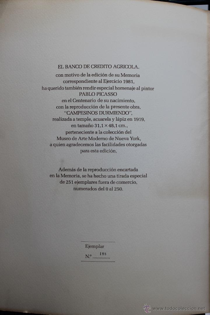 Arte: LITOGRAFIA PABLO PICASSO CAMPESINOS DURMIENDO Nº 188 DE 250, BANCO DE CREDITO AGRICOLA 1981 - Foto 5 - 45143788