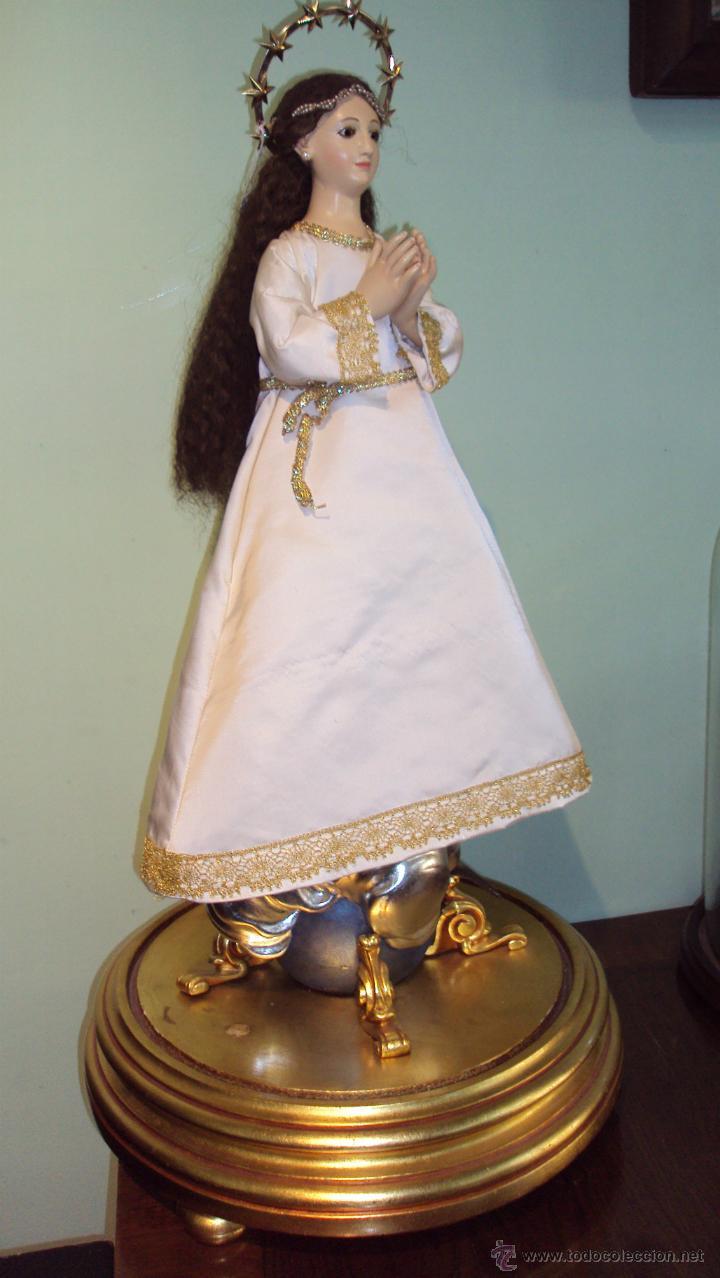 Arte: Escultura en Madera Virgen Inmaculada Cap i Pota XIX - Foto 3 - 45149361