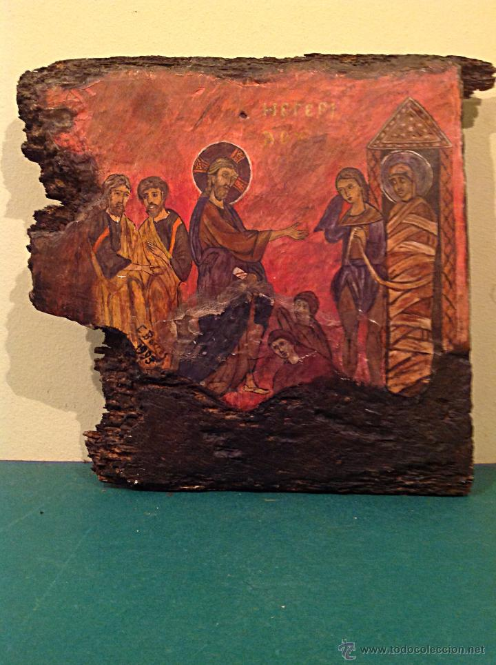 Arte: TRÍPTICO DE MADERA TALLADA PINTADO AL ÓLEO / TEMÁTICA RELIGIOSA RETABLO DE TRES PIEZAS - Foto 2 - 45154699