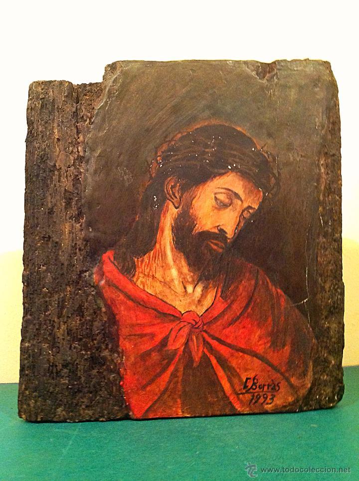 Arte: TRÍPTICO DE MADERA TALLADA PINTADO AL ÓLEO / TEMÁTICA RELIGIOSA RETABLO DE TRES PIEZAS - Foto 3 - 45154699