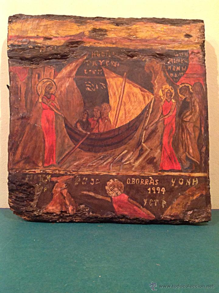 Arte: TRÍPTICO DE MADERA TALLADA PINTADO AL ÓLEO / TEMÁTICA RELIGIOSA RETABLO DE TRES PIEZAS - Foto 4 - 45154699