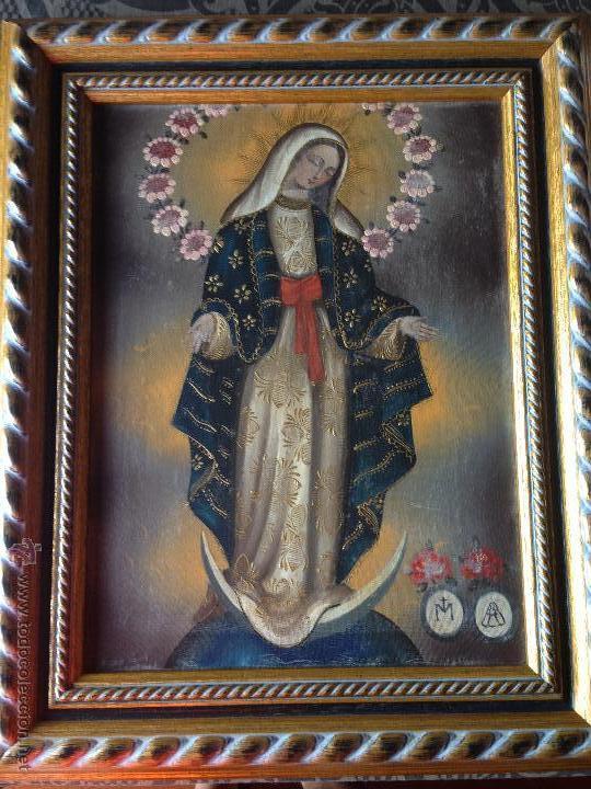 CUADRO A OLEO PINTURA VIRGEN ESTILO CUZQUEÑO (Arte - Arte Religioso - Pintura Religiosa - Oleo)