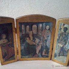 Art: TRIPTICO RELIGIOSO DE MADERA Y LAMINAS. Lote 45412648